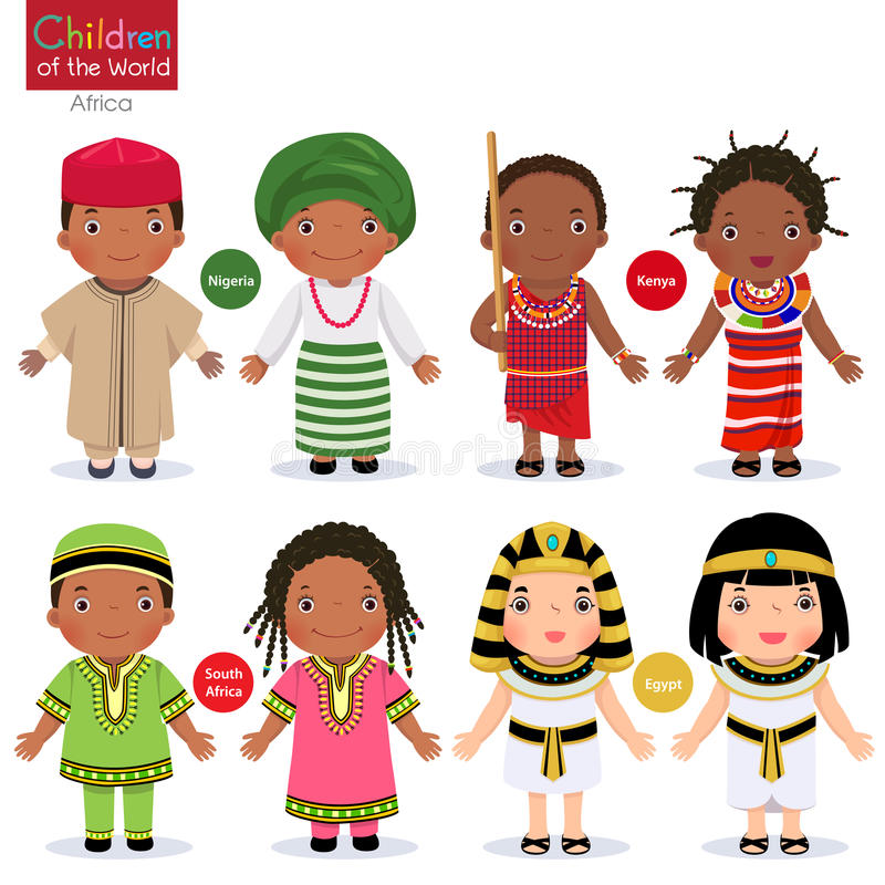 Kids in different traditional costumes. Nigeria, Kenya, South Africa, Egypt. Vector illustration of kids in different traditional costumes. Nigeria, Kenya vector illustration