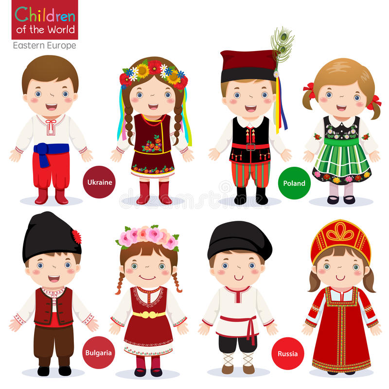 Kids in different traditional costumes. (Ukraine, Poland, Bulgaria, Russia vector illustration
