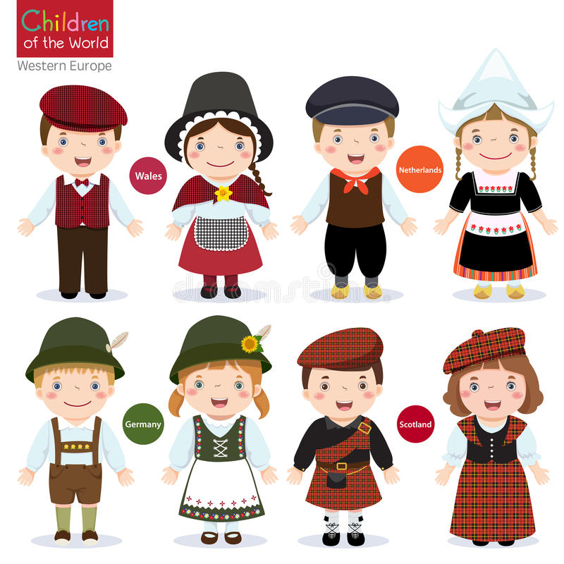 Kids in different traditional costumes stock illustration