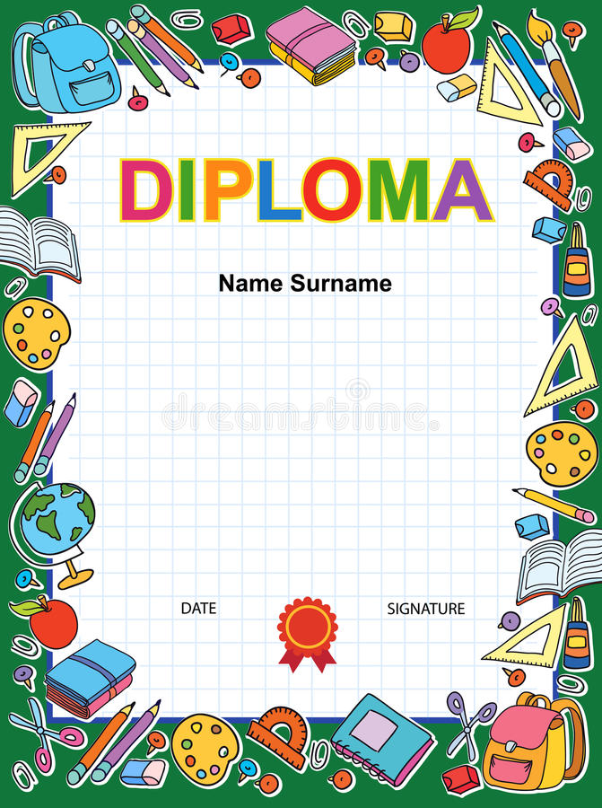 Download Kids Diploma Certificate Background Design Template Stock Vector    Illustration Of Diploma, Achievement:  Certificate Of Achievement For Kids