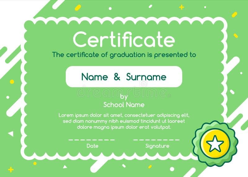 Kids Diploma certificate in cute style background template layout design. Kids Diploma certificate in cute style green background template layout design. Lovely stock illustration