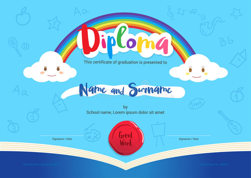 Kids diploma or certificate with rainbow and opening book elements royalty free illustration