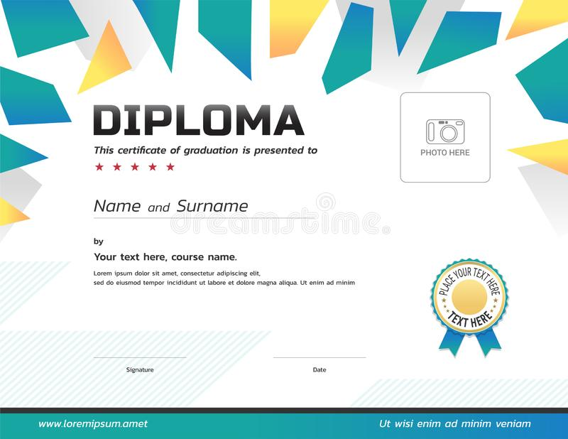 Kids Diploma or certificate template with award ribbon and photo vector illustration