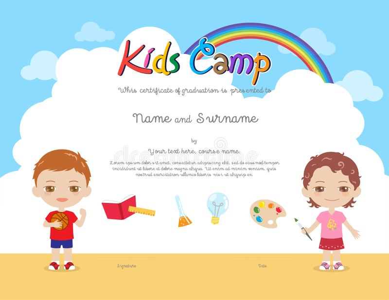 Kids Diploma or certificate template with colorful background for kid camp. For various activities ie art, science, sport royalty free illustration