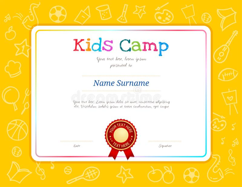 Kids Diploma or certificate template with colorful background for kid camp. For various activities ie music, science, cooking, art royalty free illustration