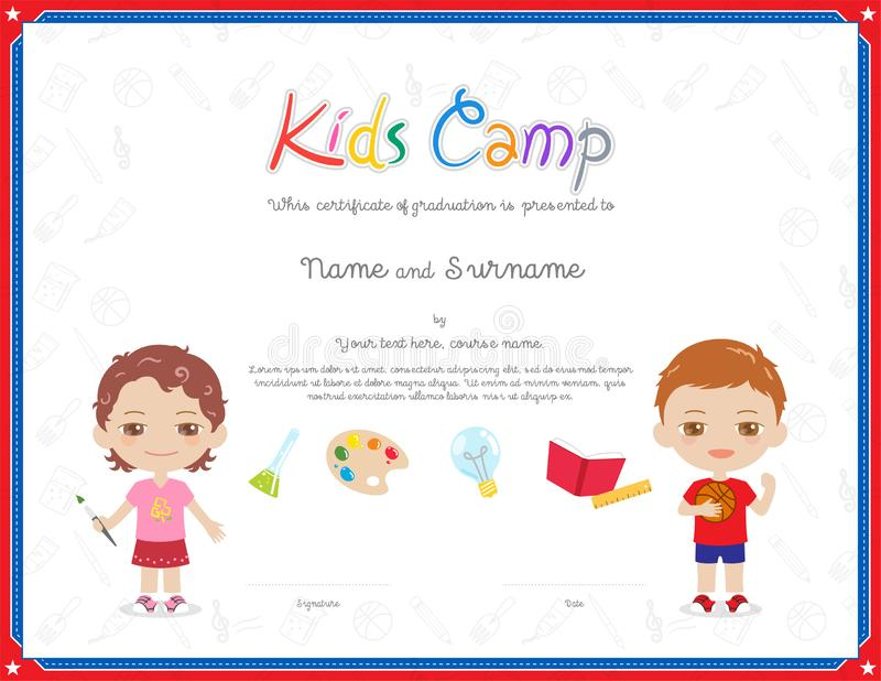 Kids Diploma or certificate template with colorful background for kid camp. With various activities ie art, science, sport vector illustration