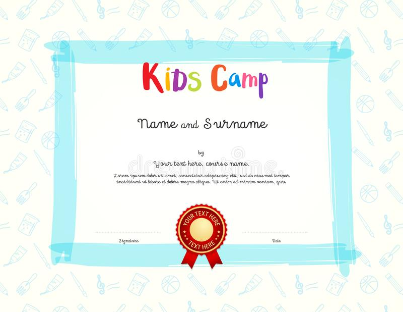 Kids Diploma or certificate template with colorful background for kid camp. With various activities ie cooking, music, art, sport royalty free illustration