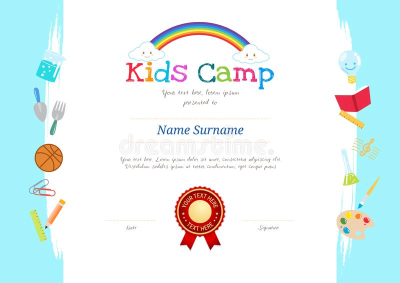 Kids Diploma or certificate template with colorful background for kid camp. With various activities ie sports, art, science vector illustration