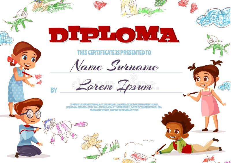 Kids diploma certificate vector illustration. Diploma template vector illustration of kindergarten certificate for kids. Cartoon design of boys and girls royalty free illustration
