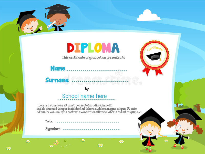 Kids With Diploma vector illustration