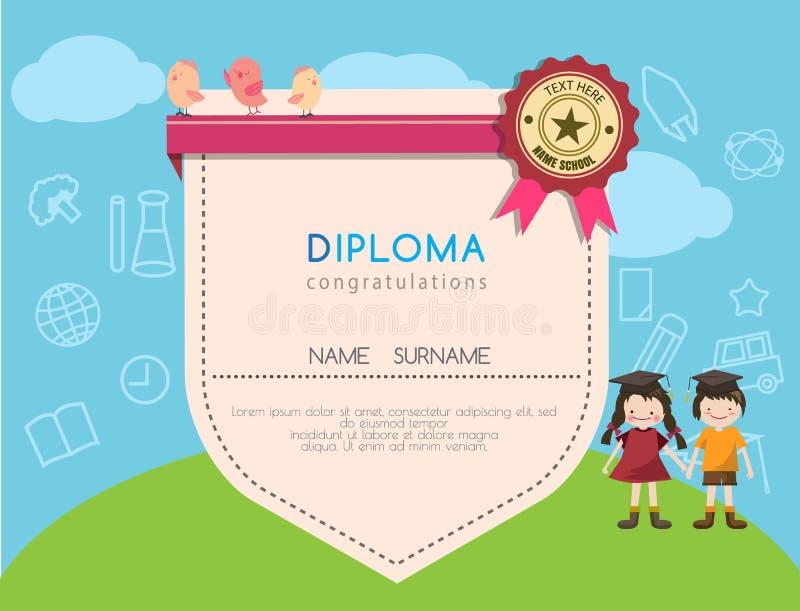 Kids diploma preschool certificate elementary school design template background stock illustration