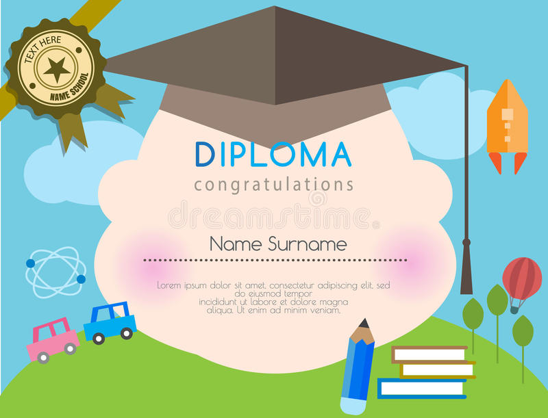 Kids diploma preschool certificate elementary school design template background vector illustration