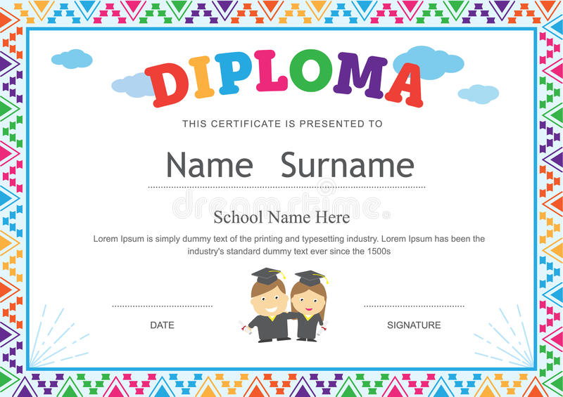 Download Kids Diploma Preschool Certificate Elementary School Template Ba  Stock Vector   Illustration Of Gown,