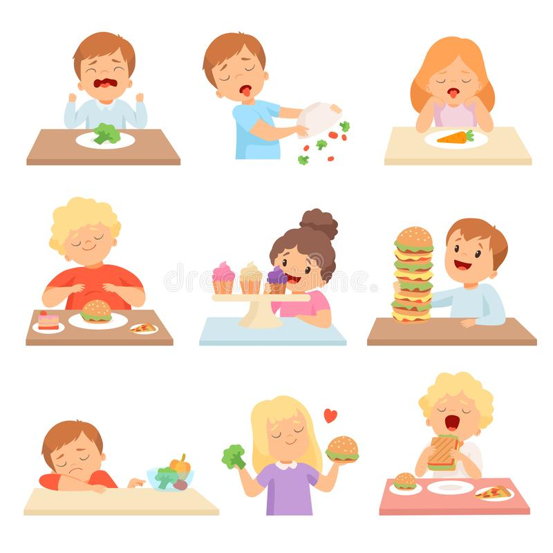 Kids Do Not Like Vegetables Set, Cute Boys and Girls Enjoying Eating of Fast Food and Sweets Vector Illustration vector illustration