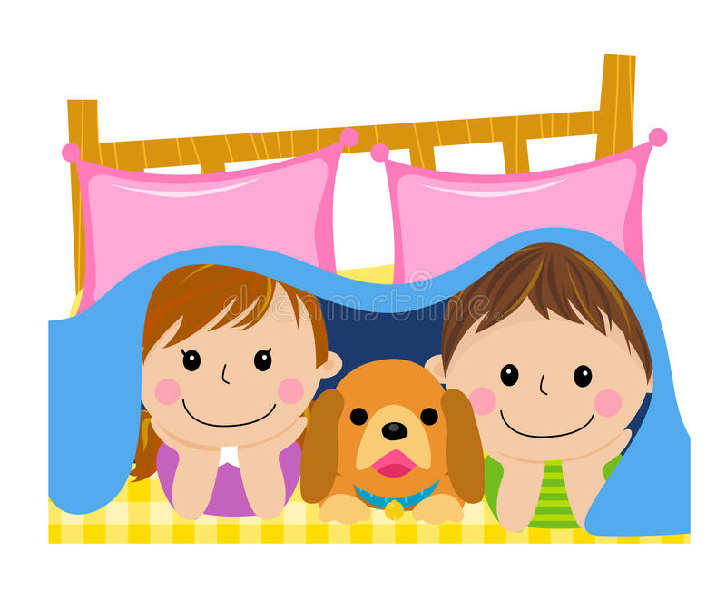 Kids and dog in the quilt. Illustration of kids and dog in the quilt royalty free illustration
