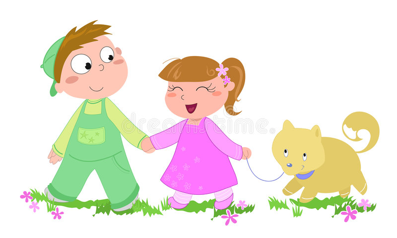 Kids with dog-vector illustration vector illustration