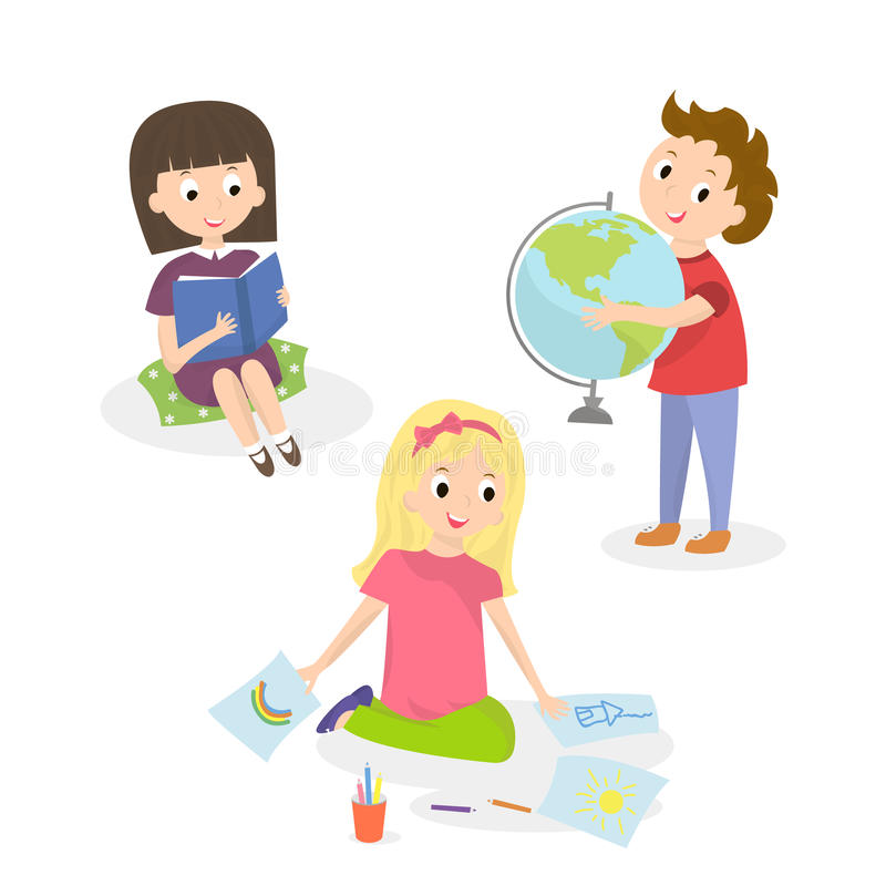 Kids doing different activities. Children painting and study. Vector illustration stock illustration