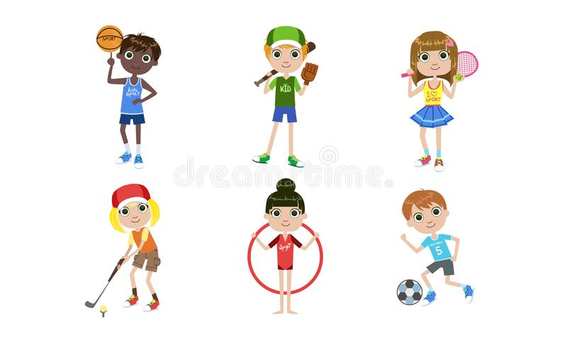 Kids Doing Different Kind of Sports Set, Boys and Girls Playing Volleyball, Basketball, Tennis, Golf, Soccer Vector stock illustration