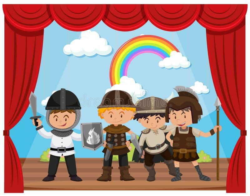 Kids doing drama show on stage. Illustration stock illustration