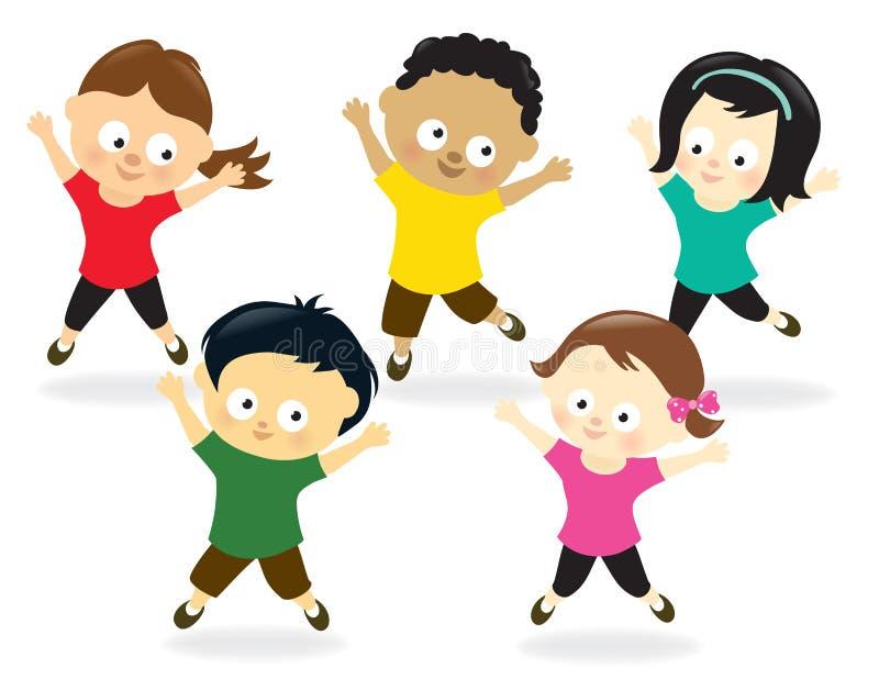 Kids doing Jumping Jacks stock illustration