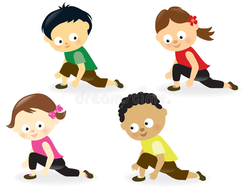 Download Kids doing leg stretches stock vector. Image of active - 28949449