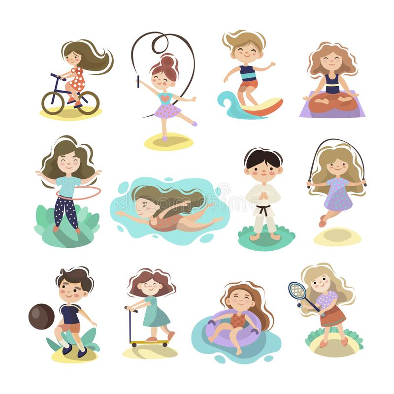 Kids doing sport games, vector cartoon illustration. Playing, jumping, swimming boys and girls with sports equipment. Balls. Sport games and summer kids stock illustration