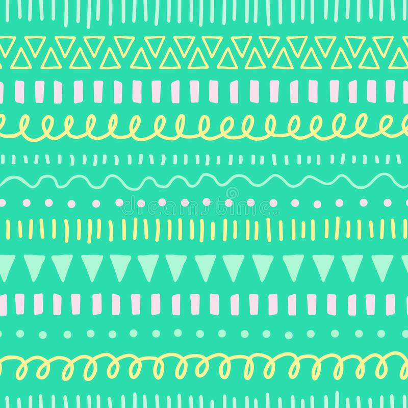 Kids Doodles seamless vector background. Ethnic and tribal style pattern green, yellow, teal, pink. Hand drawn doodle royalty free illustration