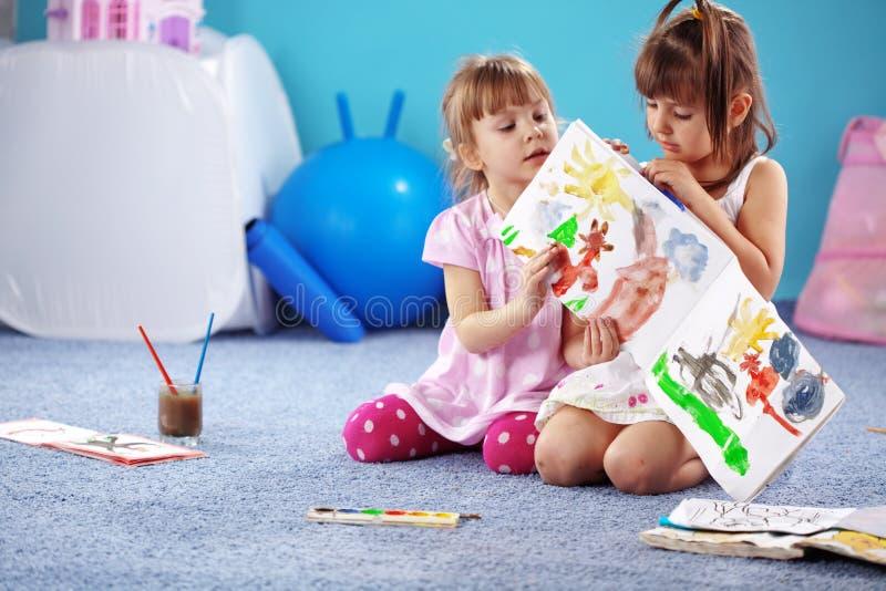 Kids drawing stock image