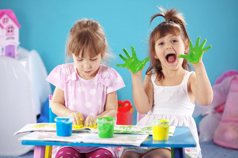 Kids drawing stock photography
