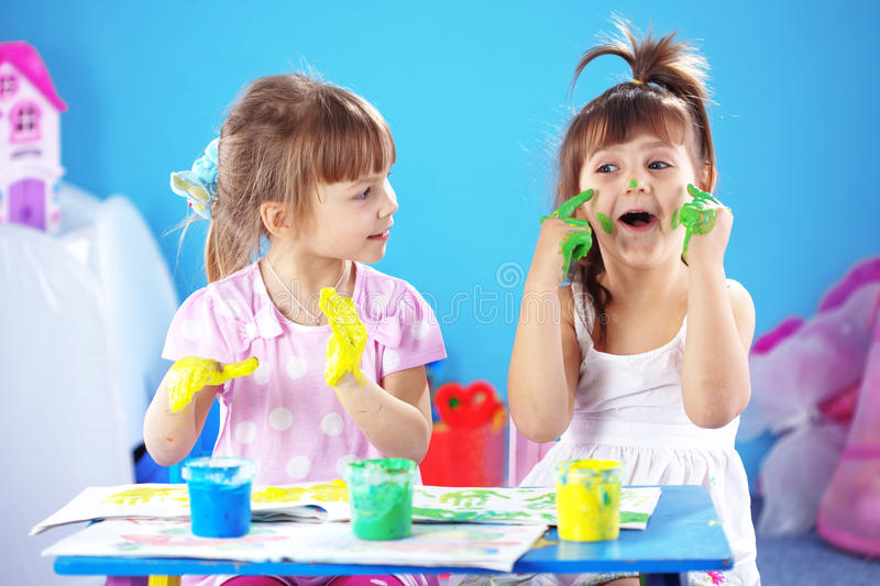 Kids drawing royalty free stock photography