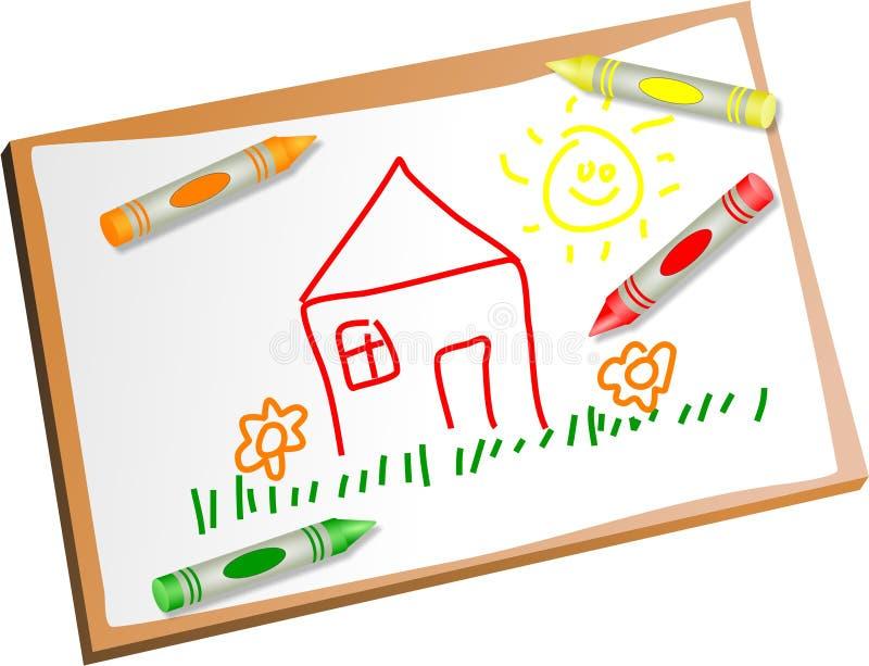 Kids drawing vector illustration