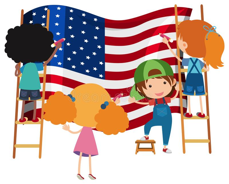 Kids Drawing American Flag on White Backgrtound royalty free illustration