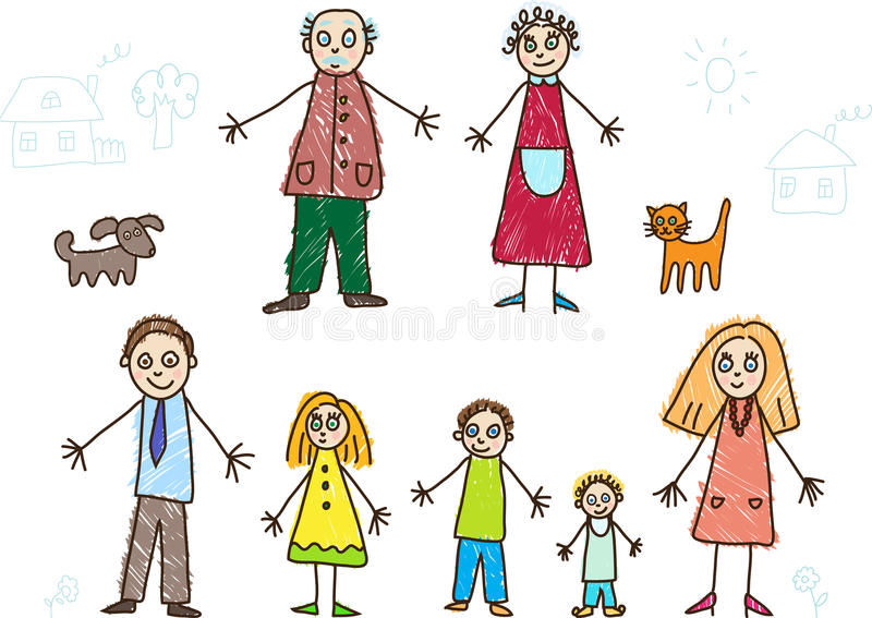 Kids Drawing. Family. With grandfather, grandmother, father, mother, son, daugther and baby