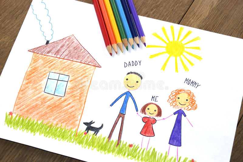 Download Kids Drawing Happy Family Near Their House Stock Illustration - Image: 28748535