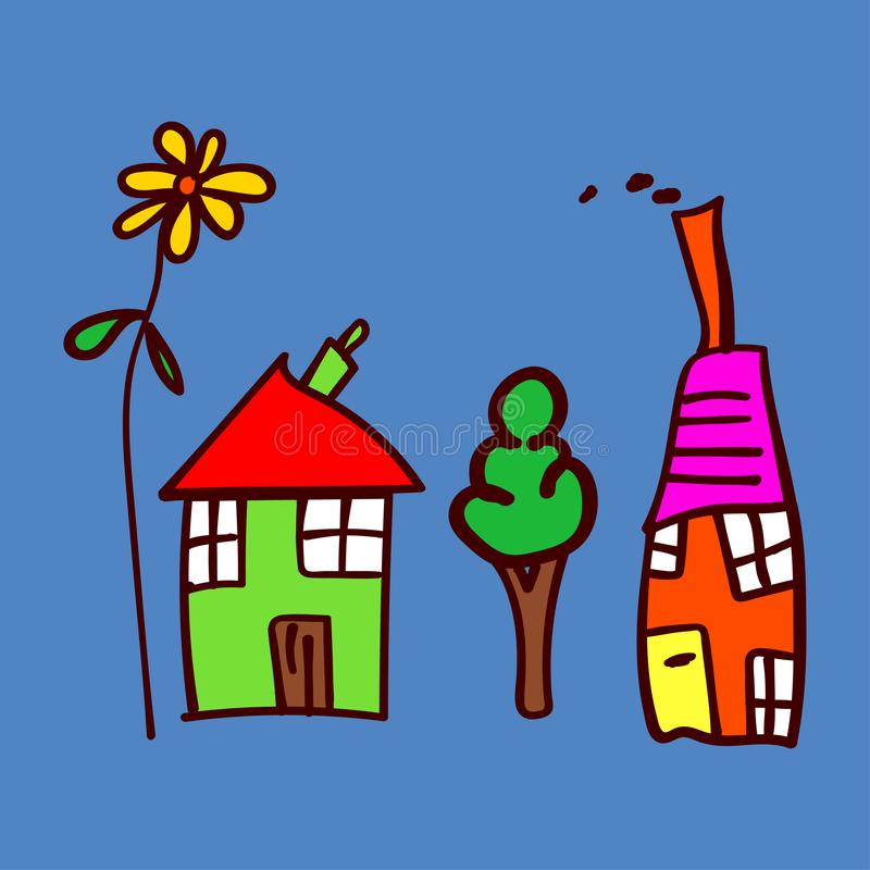 Kids drawing houses and plants in doodle style. Colorized and isolated on a colored background. Vector illustration vector illustration