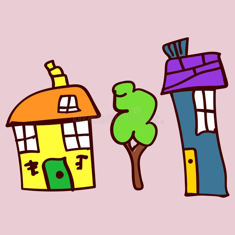 Kids drawing houses and plants in doodle style. Colorized and isolated on a colored background. Vector illustration stock illustration