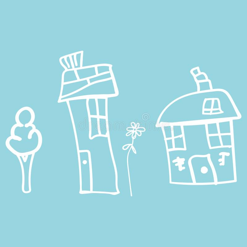 Kids drawing houses and plants in doodle style. Outlined and isolated on a colored background.  illustration vector illustration