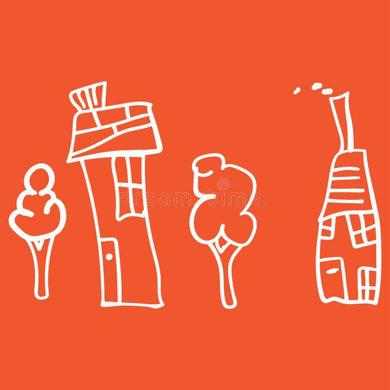 Kids drawing houses and plants in doodle style. Outlined and isolated on a colored background.  illustration royalty free illustration