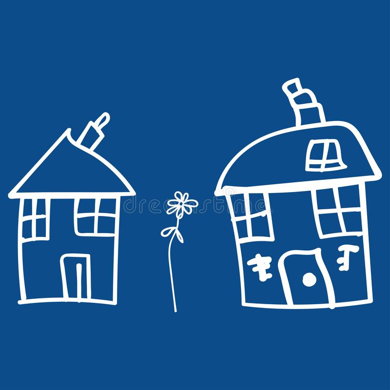 Kids drawing houses and plants in doodle style. Outlined and isolated on a colored background.  illustration stock illustration