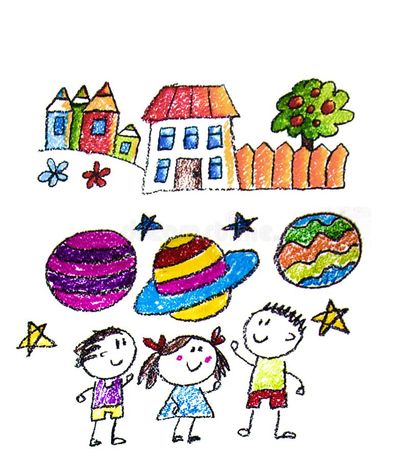 Kids drawing image. Space exploration. School, kindergarten illustration. Play and grow. Crayon image. Ufo, alien royalty free stock photography