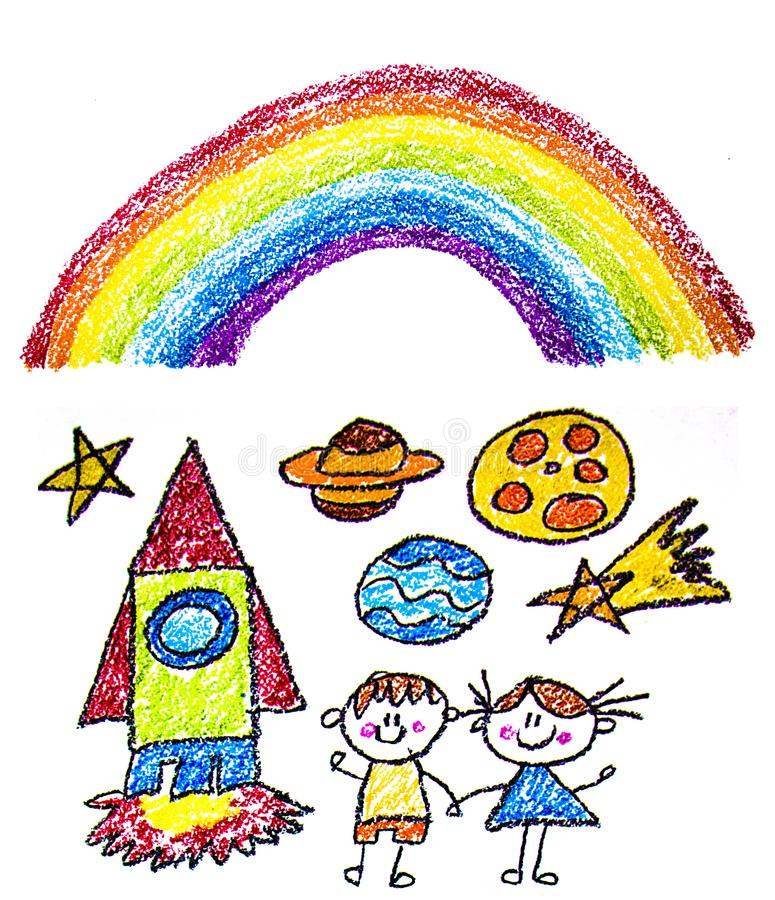 Kids drawing image. Space exploration. School, kindergarten illustration. Play and grow. Crayon image. Ufo, alien, spaceship,. Kids drawing image. Space stock photo