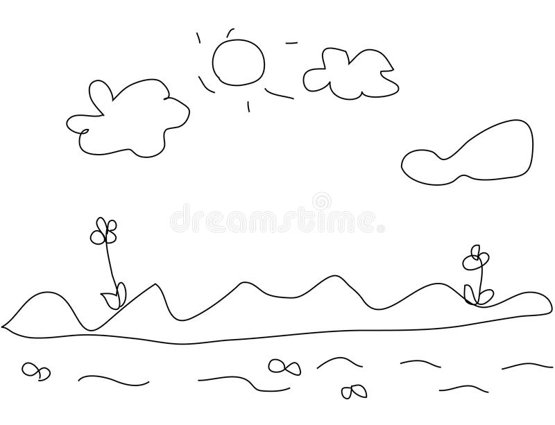 Download Kids drawing of landscape stock vector. Image of pencil - 14597821
