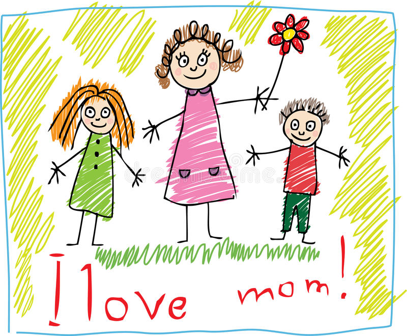 Download Kids Drawing. The Mother's Day Stock Vector - Image: 18563172