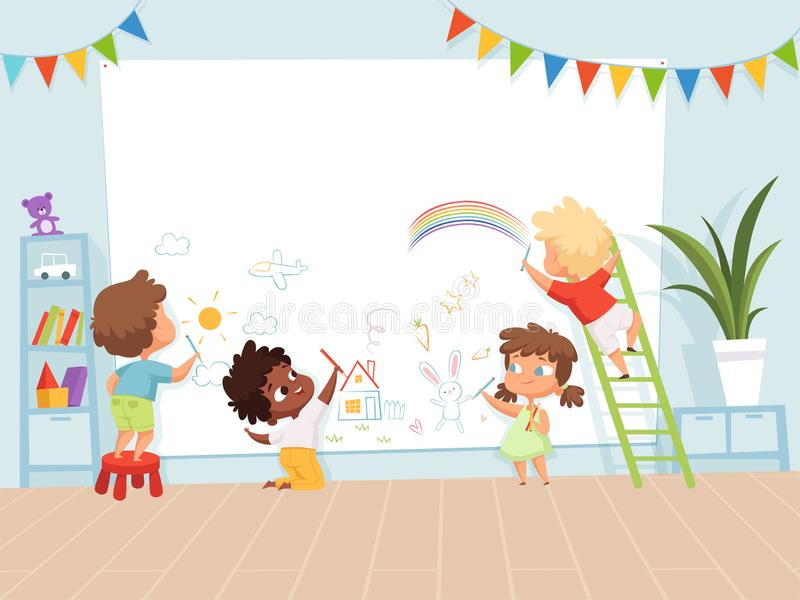 Kids drawing painting. School education process for childrens background of creativity childhood vector picture. Child paint crayon on wall illustration vector illustration