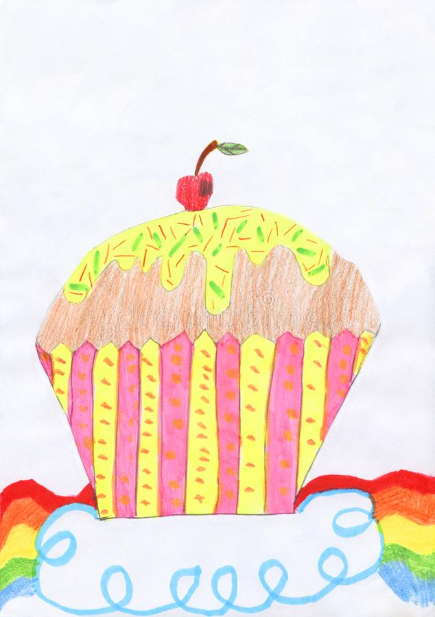 Kids drawing with pencil of a muffin with cherry on top and rainbow below stock illustration