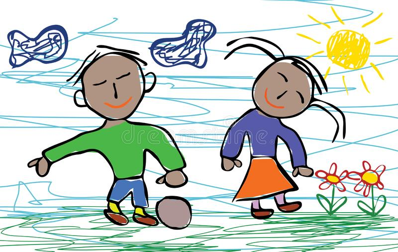 Kids drawing style of happy African American boy and girl stock illustration