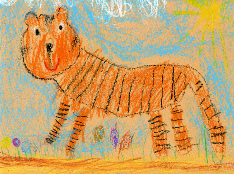 Kids drawing of a tiger royalty free illustration