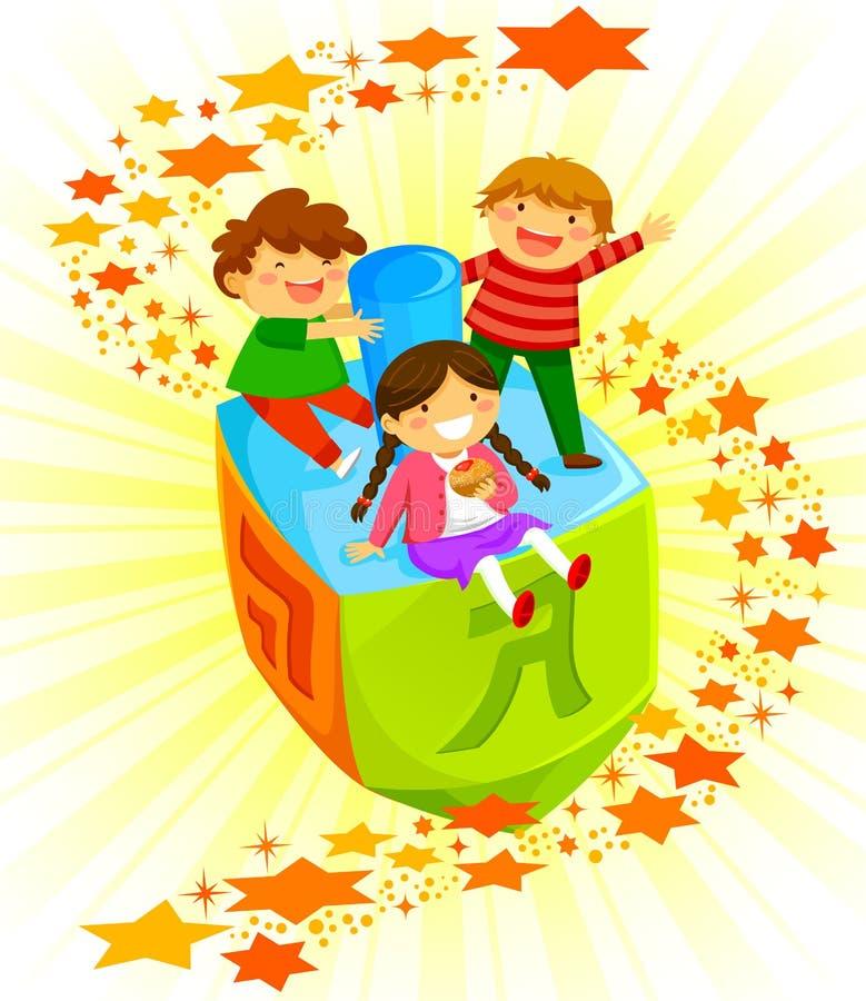 Kids on a dreidel. Happy kids riding a big dreidel on Hanukkah royalty free illustration