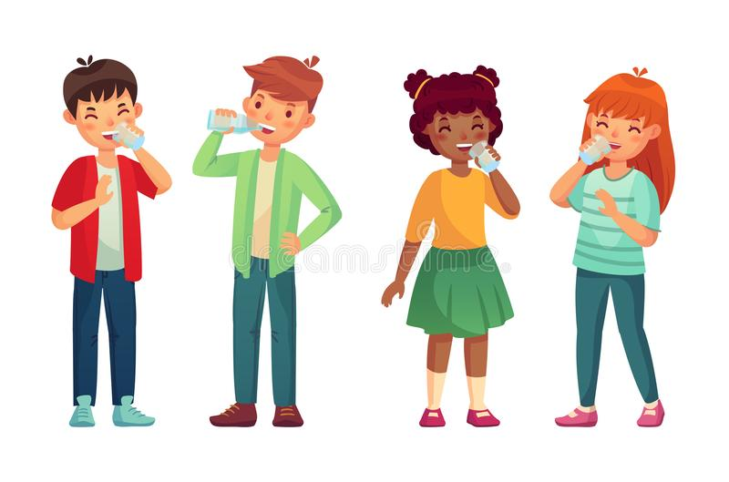 Kids drink glass of water. Happy boy and girl drinks. Children drinking hydration level care vector cartoon illustration stock illustration