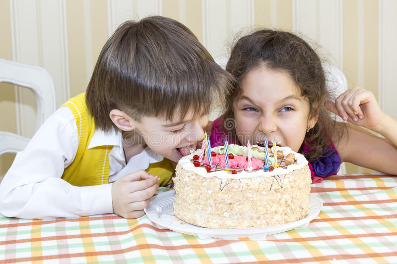Kids eat cake stock image Image of family cake expression 37089641